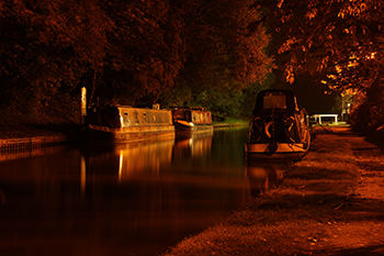 Night time photographd of the canal at Audlem.