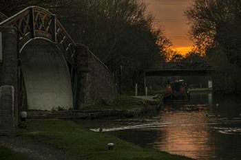 Sunset at Hawkesbury Junction, Coventry Canal