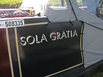Sola Gratia - picture of the name on the boat.